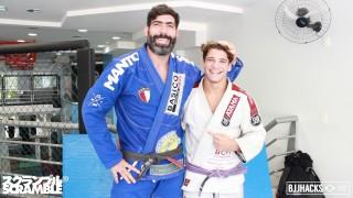 Abraham Marte 115kg black belt rolls with 74kg purple belt