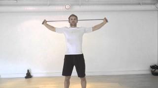 Easy shoulder stretches w/elastic band/bjj belt