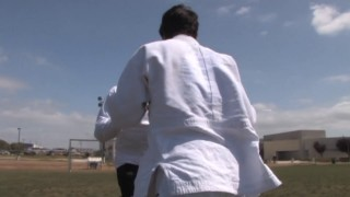 Rickson Gracie and Kron Gracie warming up before Kron's amazing PanAms Championship wins in 2008