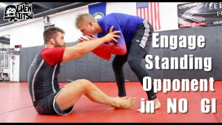 Engage Standing Opponent In No Gi BJJ ( Sweep / Leglock Entry )
