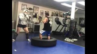 Gabi Garcia Hitting Mitts and Kicking Tires