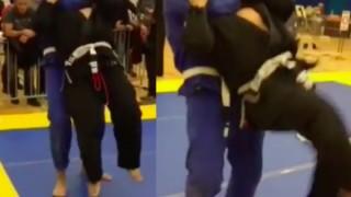 White Belt Standing Rear Naked Choke in BJJ Tournament!