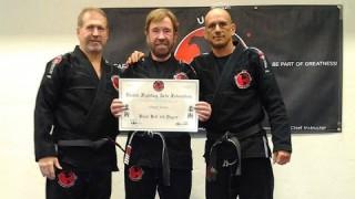 Jean Jacques Machado Congratulates Chuck Norris on his 3rd Degree BJJ Black Belt