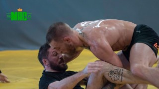 Conor McGregor grappling with Coach Kavanagh and team before UFC 205