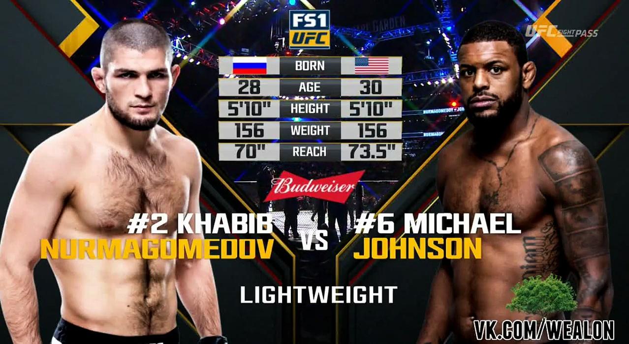 khabib nurmagomedov vs michael johnson full fight