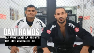 Davi Ramos teaches DLR sweep with lapel grip ending on a leg lock