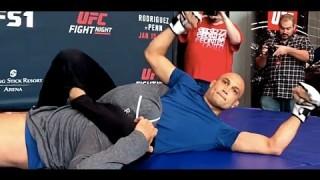 BJ Penn Rolls with Brother Regan at UFC Phoenix Workout
