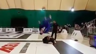 Backflip on Turtle in BJJ Match