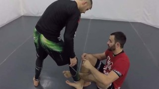2 on 1 Shin Guard to Sankaku Leglock Entry