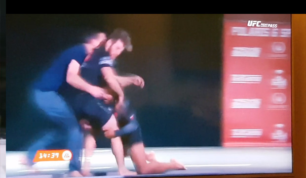 Benson Henderson taking AJ Agazarm and the referee off the stage at Polaris 6 tonight