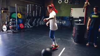 Cris Cyborg trains CrossFit concepts for MMA with Coach Kenneth Leverich
