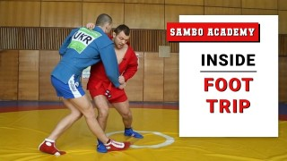 Inside foot trip and quick leg lock. Sambo combinations