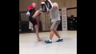Chuck Liddell Hitting Mitts Looking Extremely Slow