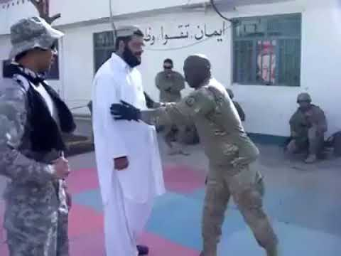 American Soldier and Afghan Wrestle